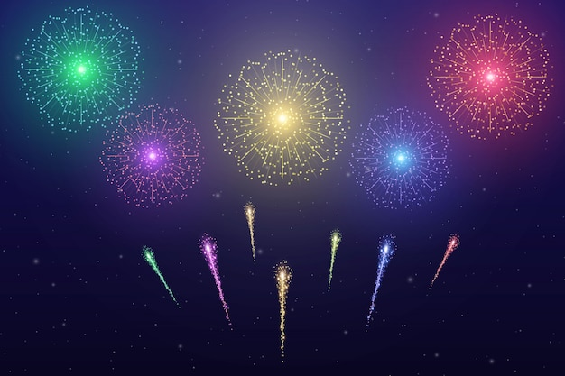 Fogo de artifício colorido de vetor