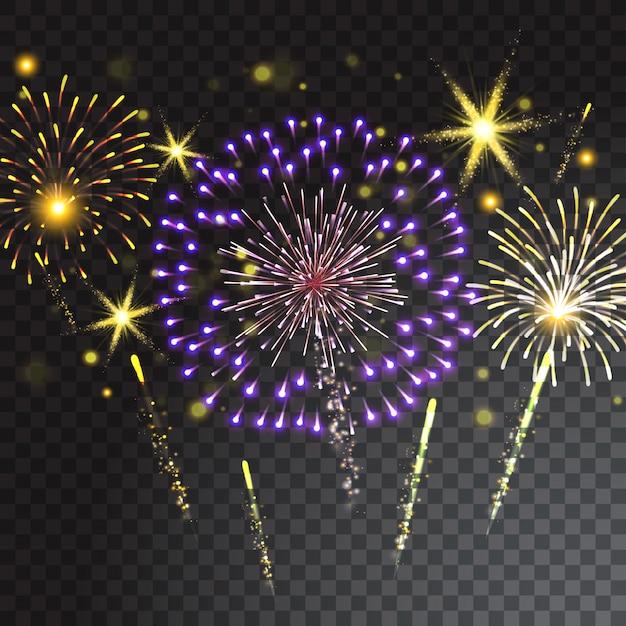 Fogo de artifício colorido sobre fundo transparente. ilustração