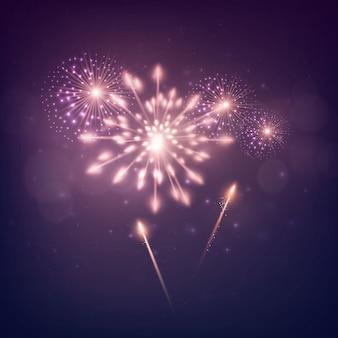 Fogo de artifício do feriado brilhante. ano novo design. vetor