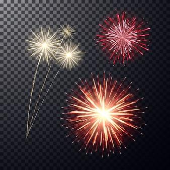 Fogo de artifício festivo brilhante realista