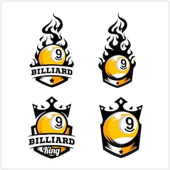 Fogo de bola de bilhar 9 e logotipo de distintivo de rei