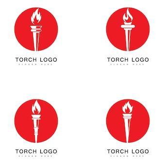 Fogo de tocha definir ícone de vetor de logotipo