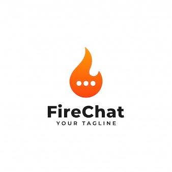 Fogo e bate-papo, design de logotipo de conversa de chamas