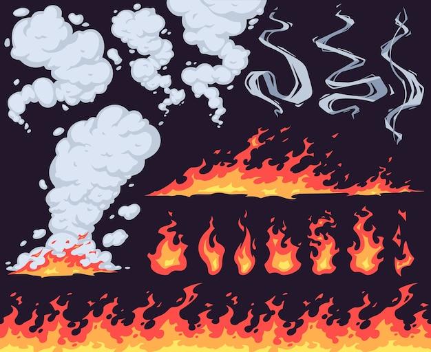 Fogo e fumaça de desenho animado