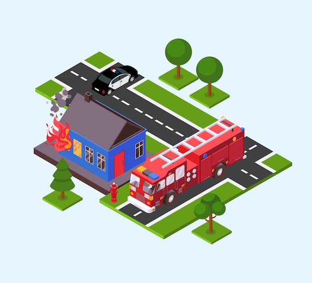 Fogo em casa, caminhão de bombeiros, carro de polícia perto de queimar edifício ilustração isométrica. serviço de resgate de combate a incêndios.