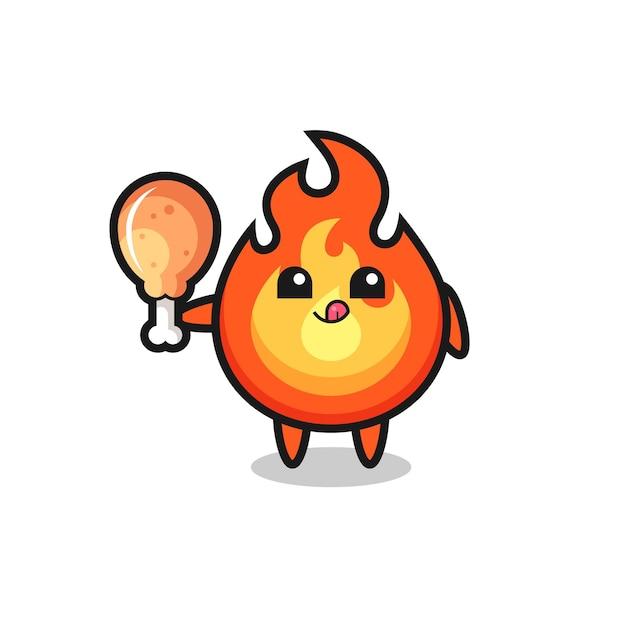 Fogo fofo mascote está comendo frango frito, design de estilo fofo para camiseta, adesivo, elemento de logotipo