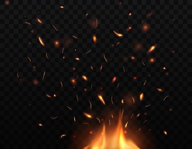 Fogo, fogueira acesa com faíscas e brasas voando