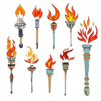 Fogo, incandescente, chama, retro, esboço, tocha, ícones, jogo, isolado, vetorial, ilustração