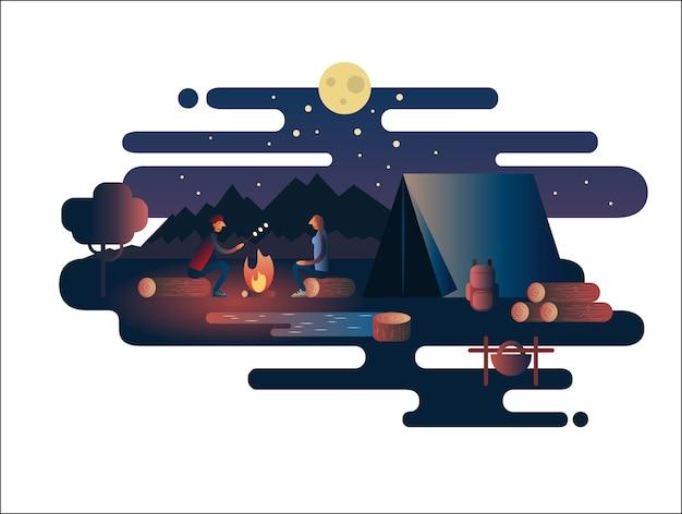 Fogo noturno perto do acampamento. fogueira na natureza, férias ao ar livre, viagem de aventura, acampamento na paisagem,