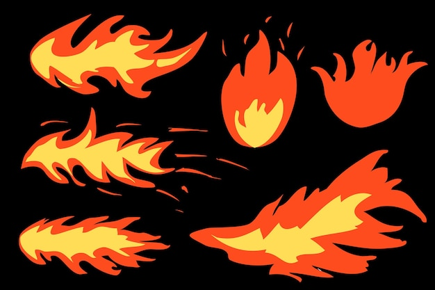 Fogo vetorial simples de 6 estilos ou sinal inflamável, com fundo preto