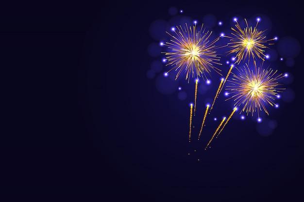 Fogos de artifício amarelos dourados incríveis