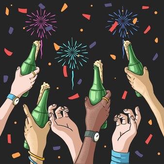 Fogos de artifício ao ar livre para festa de comemoração da contagem regressiva de ano novo