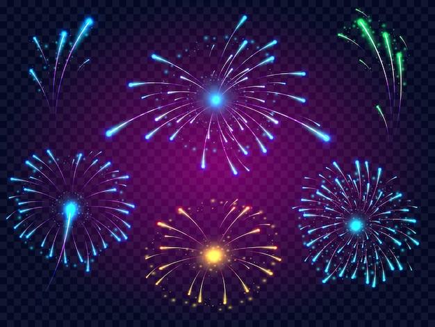 Fogos de artifício brilhantes em diferentes cores de laranja e verde