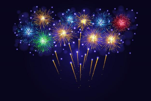 Fogos de artifício brilhantes multicoloridos
