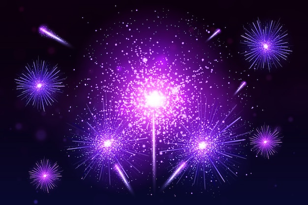 Fogos de artifício coloridos. brilhante festivo realista