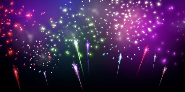 Fogos de artifício coloridos com tema de festa de celebração feliz ano novo fundo.