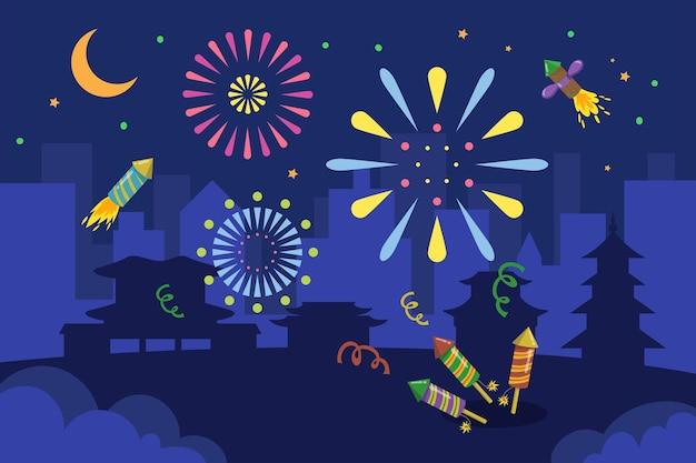 Fogos de artifício coloridos em cidade asiática à noite