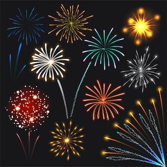 Fogos de artifício coloridos explosões luzes para web