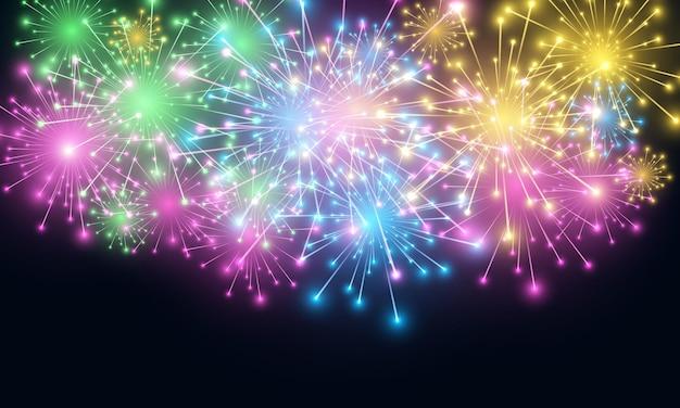 Fogos de artifício coloridos festivos e luzes de celebração de ano novo brilham
