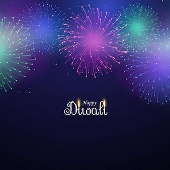 Fogos de artifício coloridos no fundo azul