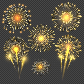 Fogos de artifício comemorativos saudação ouro