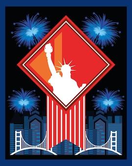 Fogos de artifício da liberdade da estátua da cidade americana de ny
