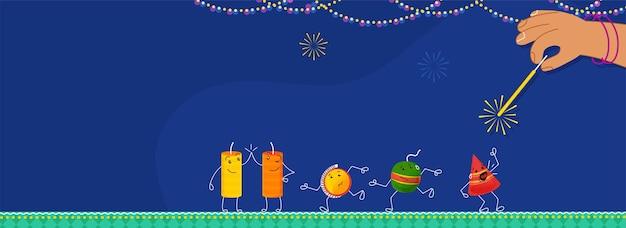Fogos de artifício de desenho animado com a mão segurando o bastão de faísca sobre fundo azul para o festival de diwali.