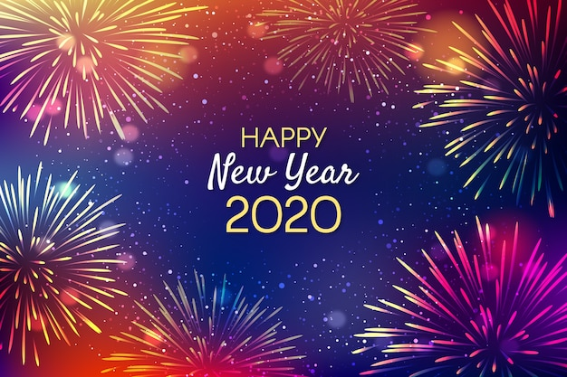 Fogos de artifício de fundo ano novo