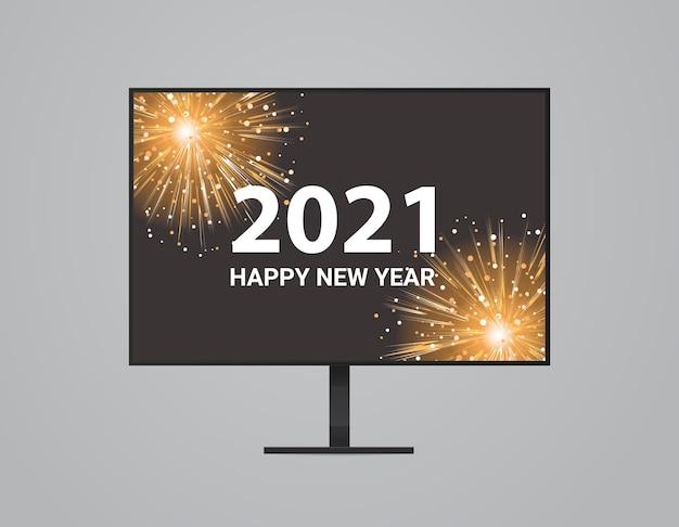 Fogos de artifício de natal na tela do monitor do computador feliz ano novo feriados celebração conceito ilustração vetorial
