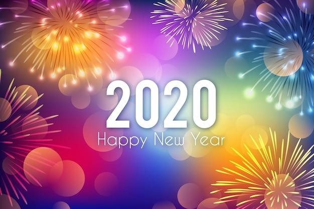 Fogos de artifício do ano novo de fundo