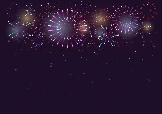Fogos de artifício e bokeh no fundo do dia de ano novo