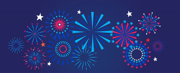 Fogos de artifício e celebração de fundo