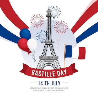 Fogos de artifício e dia da bastilha da torre eiffel