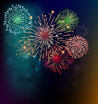 Fogos de artifício e feliz ano novo