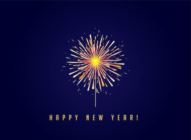 Fogos de artifício e fundo de celebração, banner de feliz ano novo
