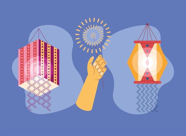 Fogos de artifício e lâmpadas diwali