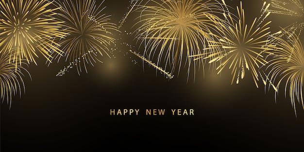 Fogos de artifício e natal com tema de celebração festa feliz ano novo projeto do fundo dourado.