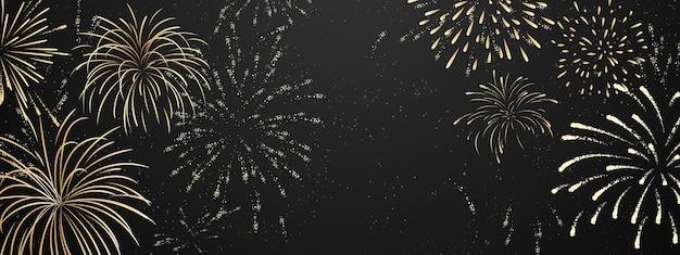 Fogos de artifício e natal temático festa de celebração feliz ano novo fundo dourado.