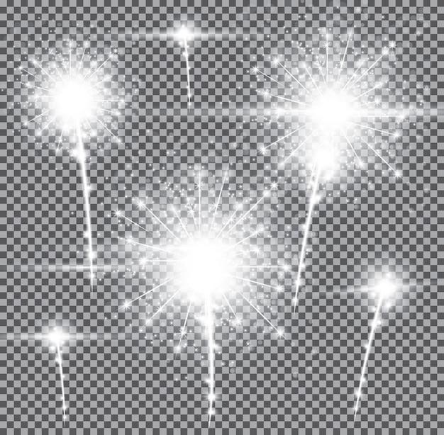 Fogos de artifício em fundo transparente. ilustração vetorial.