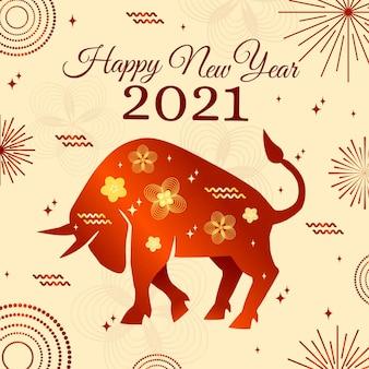Fogos de artifício feliz ano novo vietnamita de 2021