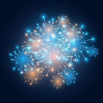 Fogos de artifício festivos coloridos e luzes cintilantes de celebração de ano novo