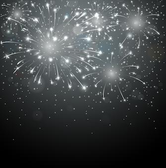 Fogos de artifício lindos no fundo da noite