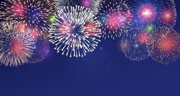 Fogos de artifício na ilustração do fundo do crepúsculo