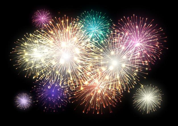 Fogos de artifício nas férias. fogo de artifício colorido.