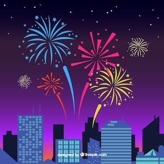 Fogos de artifício no fundo da cidade