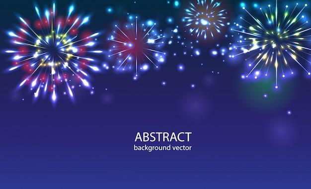Fogos-de-artifício no vetor crepuscular do fundo. celebração de feriado de ano novo de fogos de artifício.