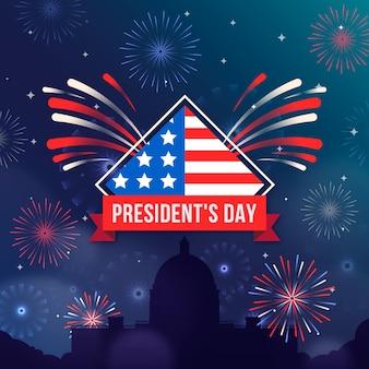 Fogos de artifício para a celebração do dia dos presidentes
