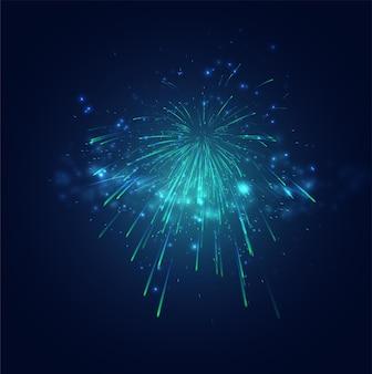Fogos de artifício verdes e azuis no céu noturno, conjunto de vetores festivos de faíscas e humores