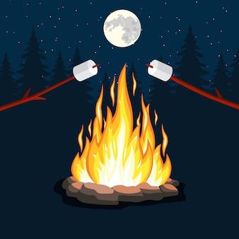 Fogueira com marshmallow, pedra,