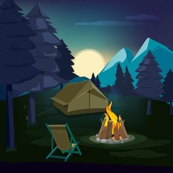 Fogueira noturna. paisagem de madeira com tenda e lareira com grande chama queimada ao ar livre. noite da fogueira, ilustração da barraca ao ar livre